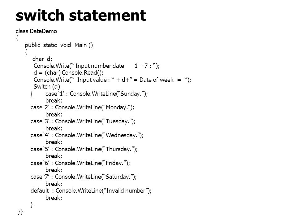 switch statement class DateDemo { public static void Main () char d;