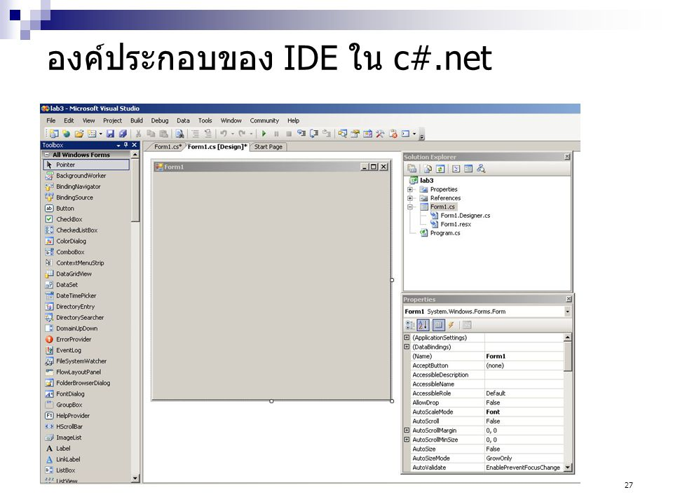 องค์ประกอบของ IDE ใน c#.net
