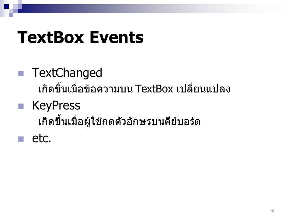 TextBox Events TextChanged KeyPress etc.