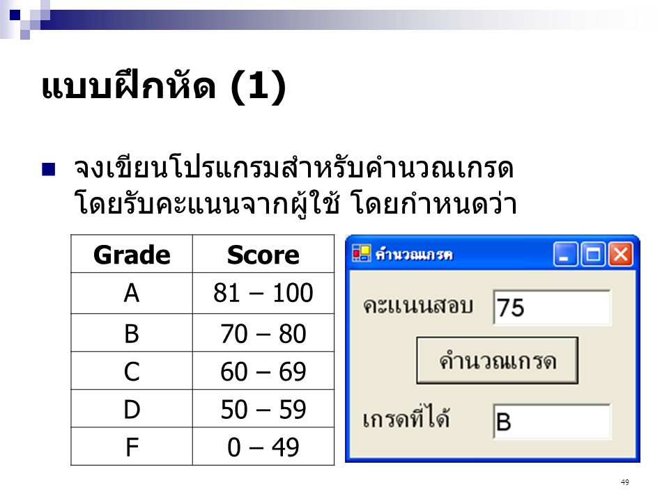 แบบฝึกหัด (1) จงเขียนโปรแกรมสำหรับคำนวณเกรด โดยรับคะแนนจากผู้ใช้ โดยกำหนดว่า. Grade. Score. A. 81 – 100.