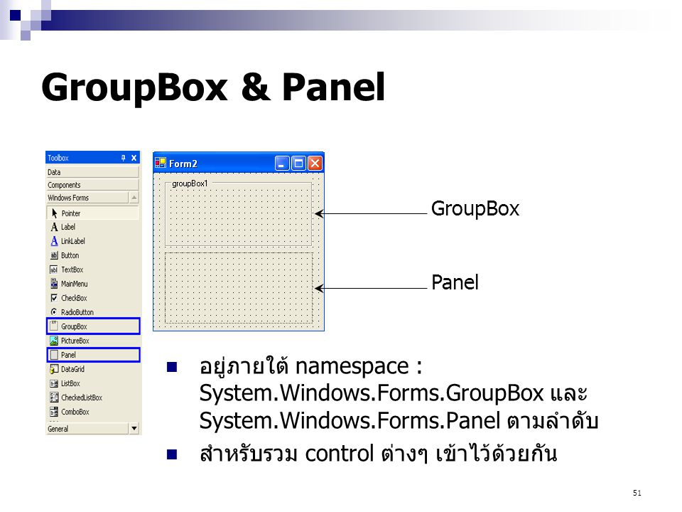 GroupBox & Panel GroupBox. Panel. อยู่ภายใต้ namespace : System.Windows.Forms.GroupBox และ System.Windows.Forms.Panel ตามลำดับ.
