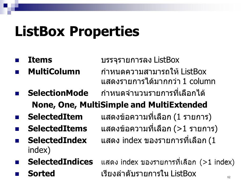 ListBox Properties Items บรรจุรายการลง ListBox