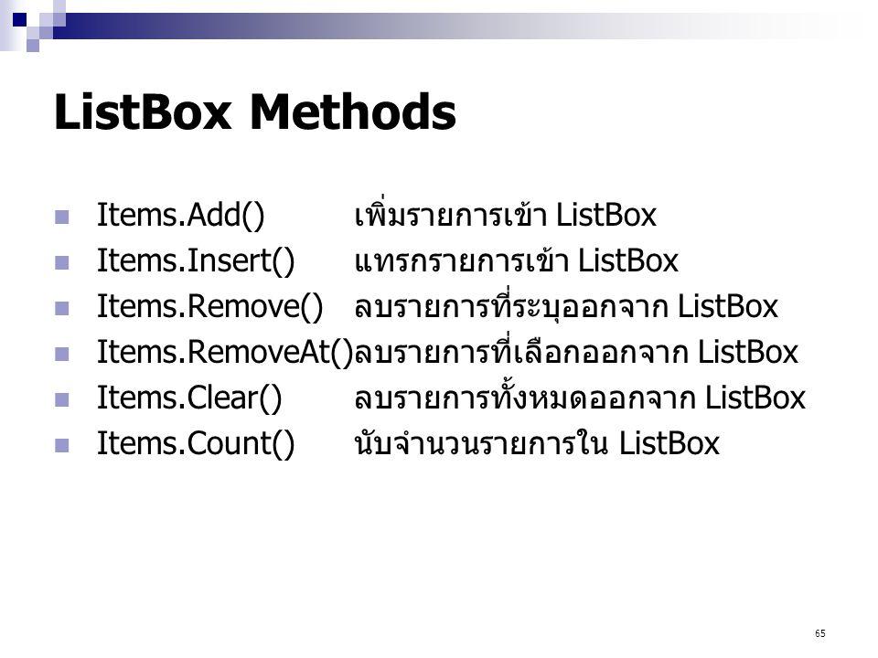 ListBox Methods Items.Add() เพิ่มรายการเข้า ListBox