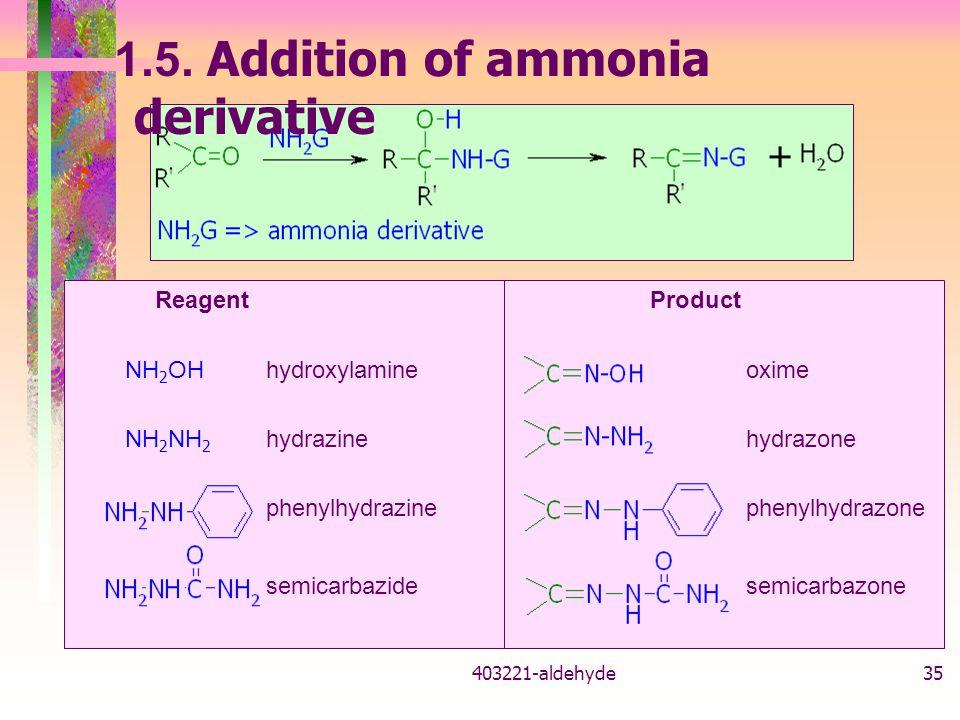 1.5. Addition of ammonia derivative