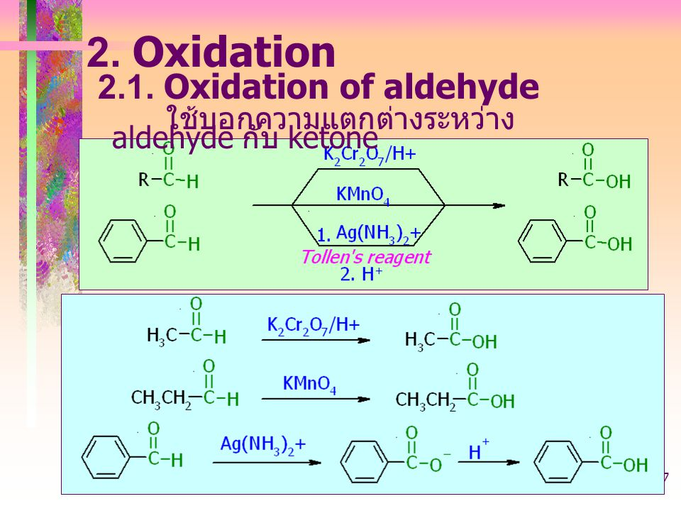 2. Oxidation 2.1. Oxidation of aldehyde