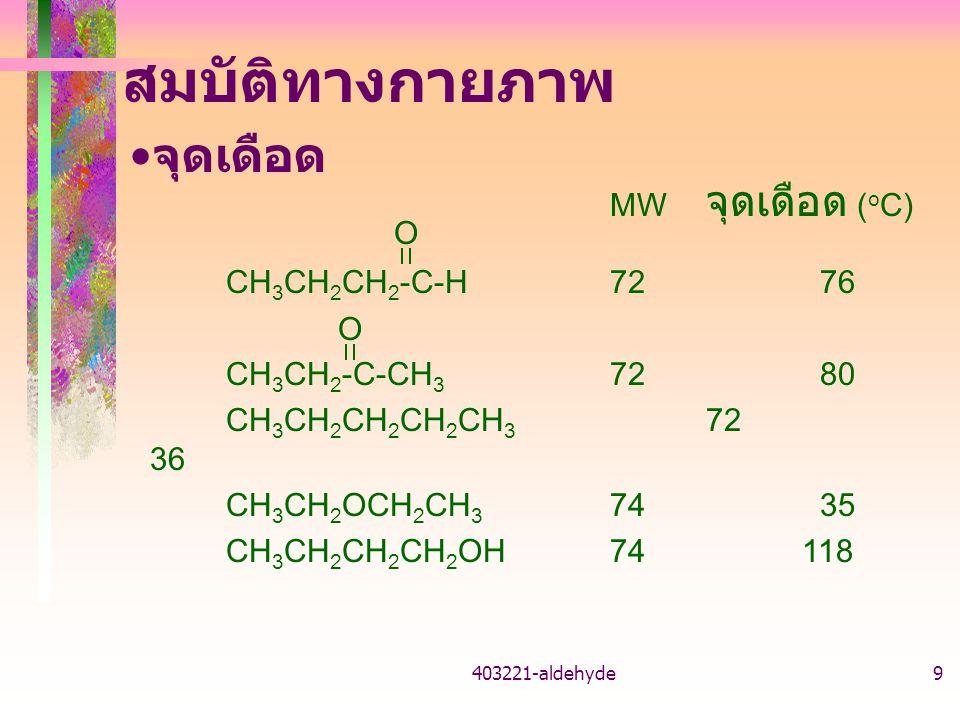 สมบัติทางกายภาพ จุดเดือด MW จุดเดือด (oC) CH3CH2CH2-C-H 72 76 O