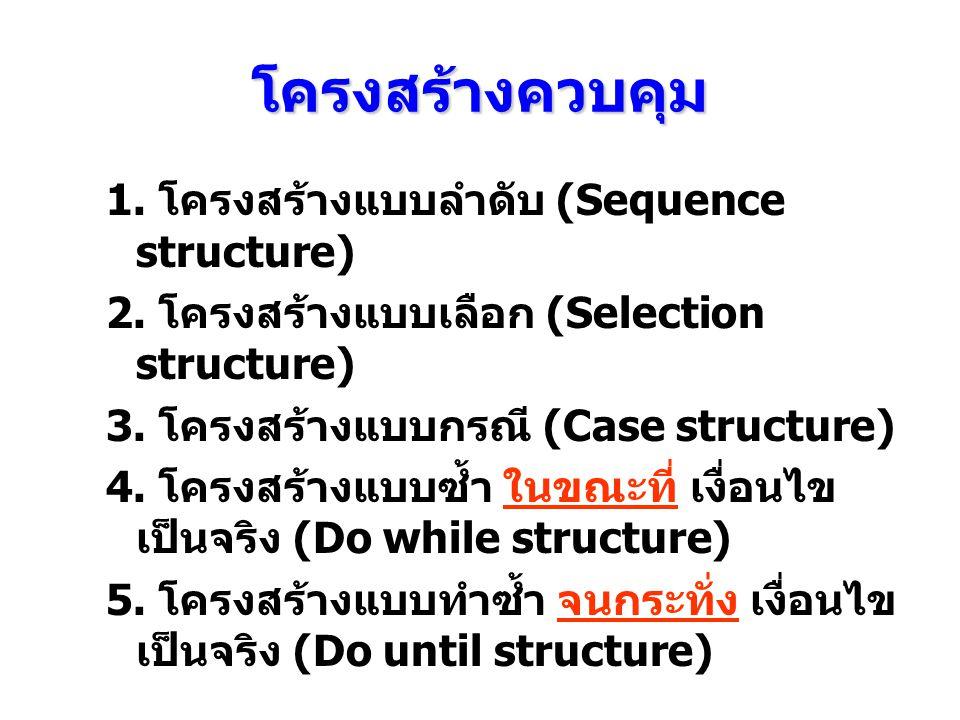 โครงสร้างควบคุม 1. โครงสร้างแบบลําดับ (Sequence structure)