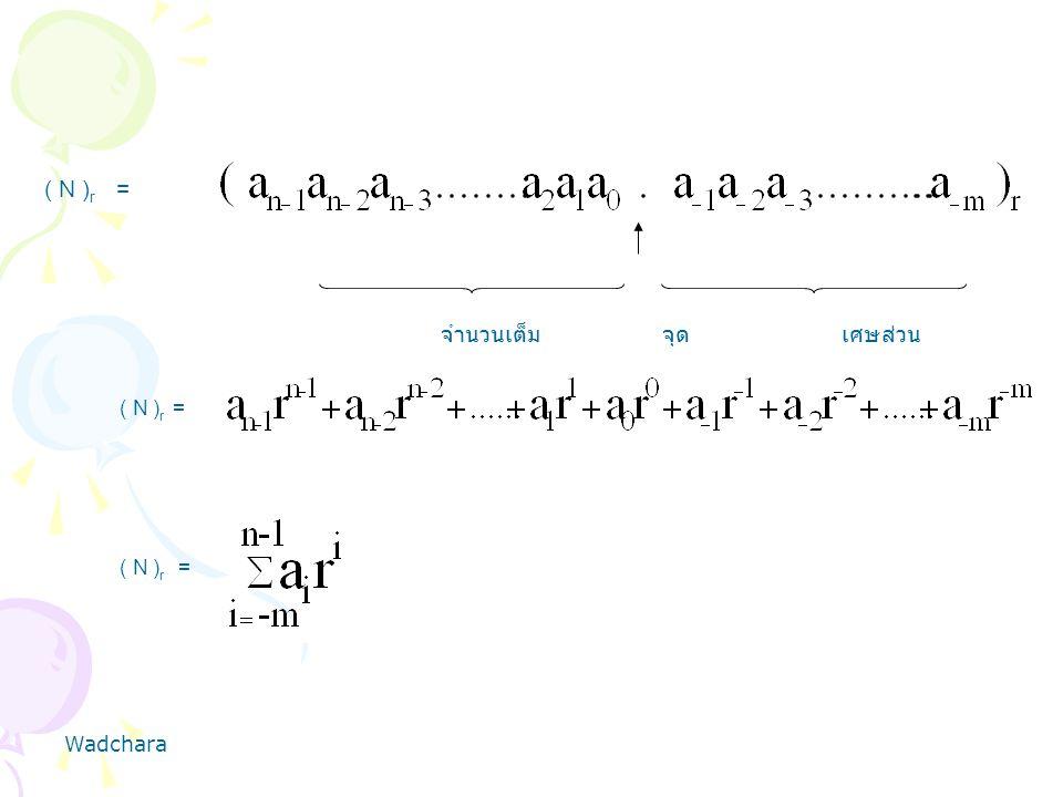 ( N )r = จำนวนเต็ม จุด เศษส่วน ( N )r = ( N )r = Wadchara