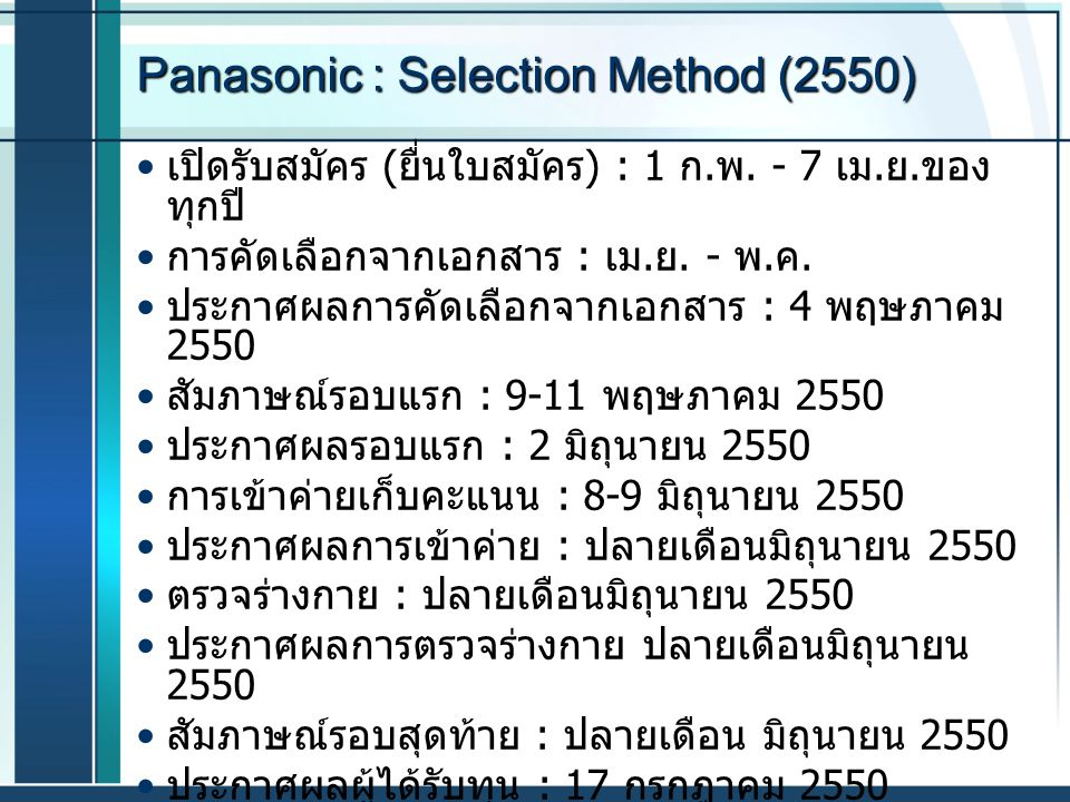 Panasonic : Selection Method (2550)