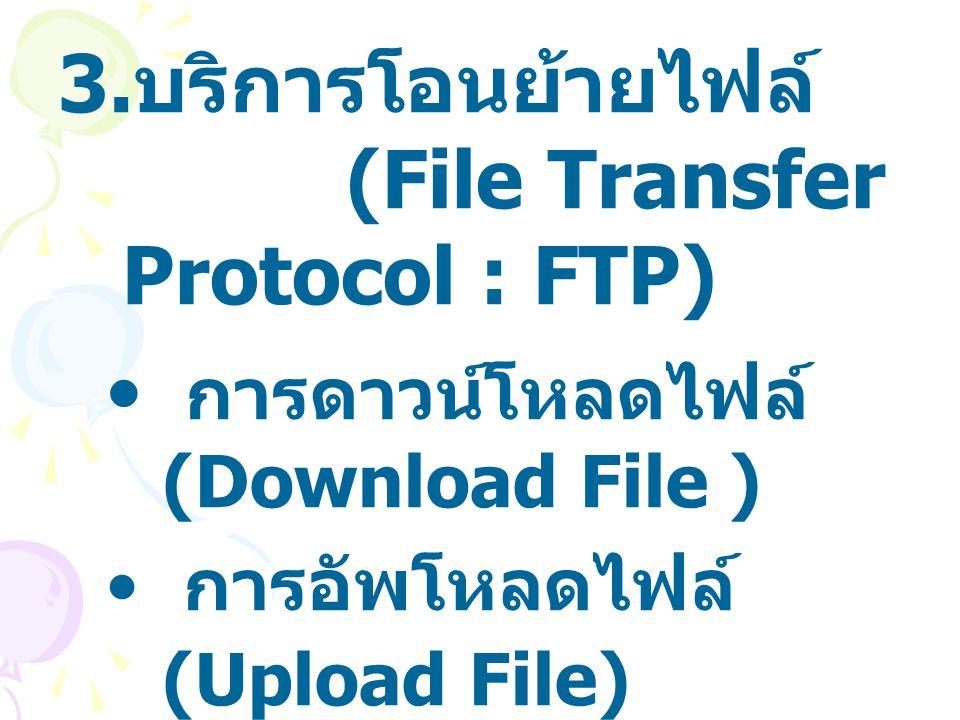 บริการโอนย้ายไฟล์ (File Transfer Protocol : FTP)