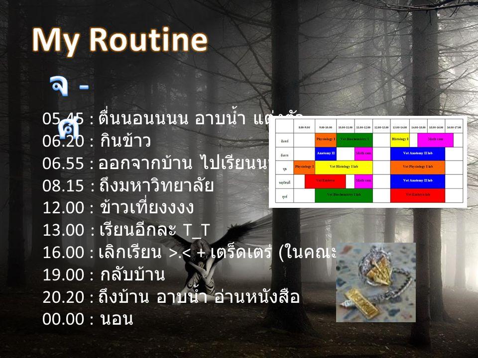 My Routine จ - ศ 05.45 : ตื่นนอนนนน อาบน้ำ แต่งตัว 06.20 : กินข้าว