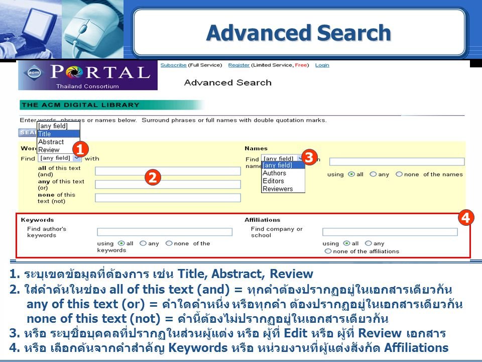 Advanced Search 1. 3. 2. 4. 1. ระบุเขตข้อมูลที่ต้องการ เช่น Title, Abstract, Review.