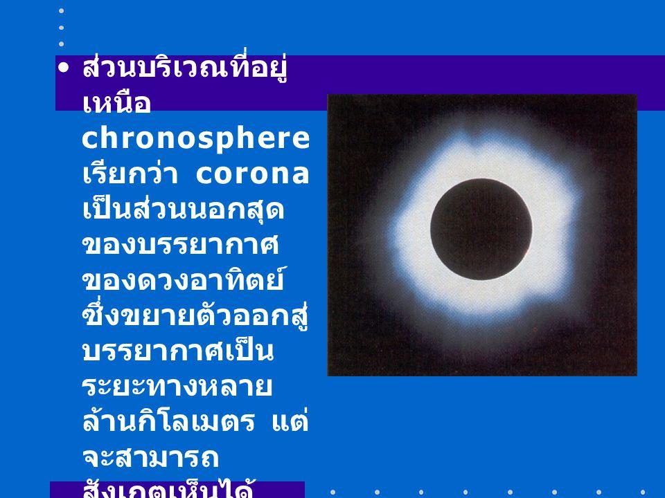 ส่วนบริเวณที่อยู่เหนือ chronosphere เรียกว่า corona เป็นส่วนนอกสุดของบรรยากาศของดวงอาทิตย์ ซึ่งขยายตัวออกสู่บรรยากาศเป็นระยะทางหลายล้านกิโลเมตร แต่จะสามารถสังเกตเห็นได้เฉพาะเมื่อเกิดสุริยุปราคา (eclipse) อุณหภูมิบริเวณ corona ประมาณ 1,000,000 K