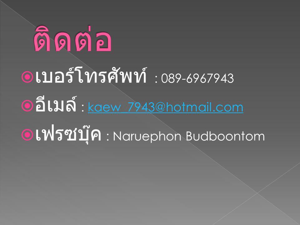 ติดต่อ เบอร์โทรศัพท์ : 089-6967943 อีเมล์ : kaew_7943@hotmail.com
