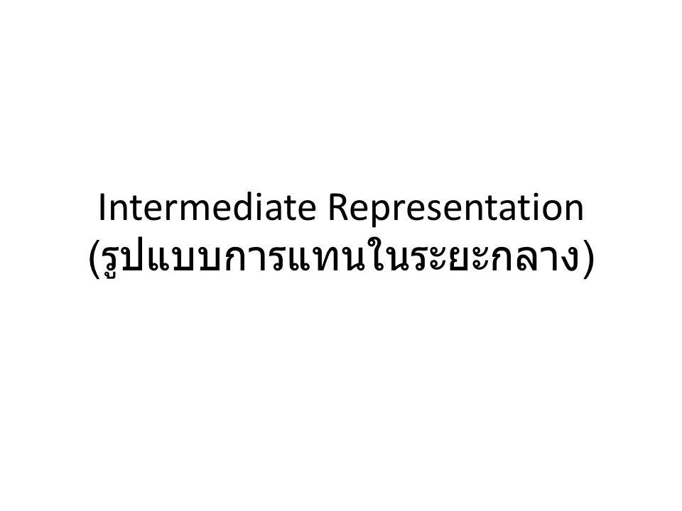 Intermediate Representation (รูปแบบการแทนในระยะกลาง)