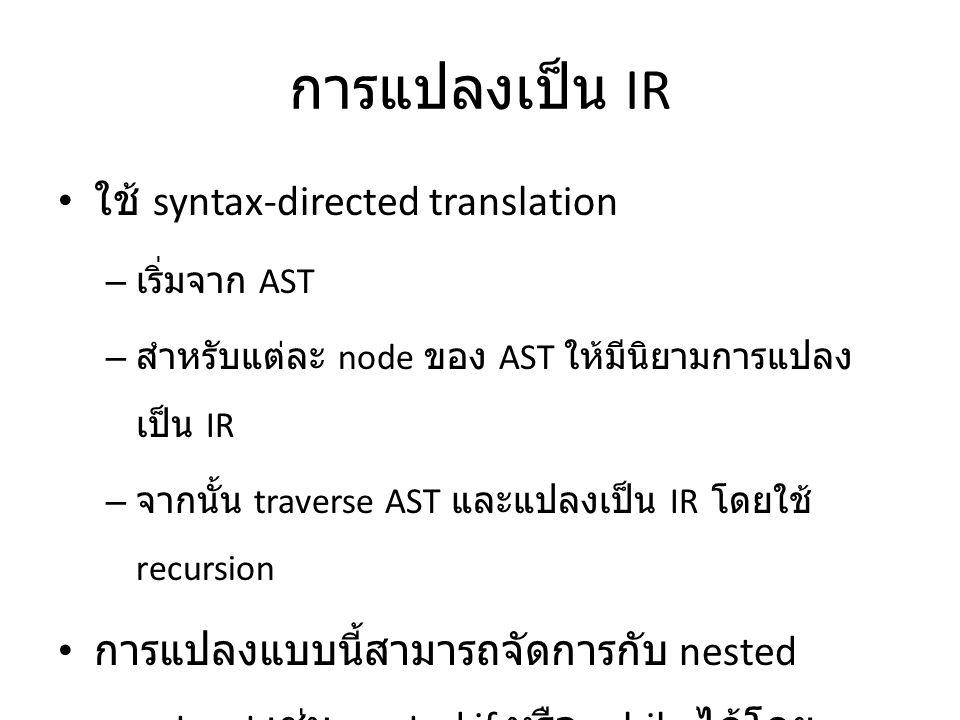 การแปลงเป็น IR ใช้ syntax-directed translation
