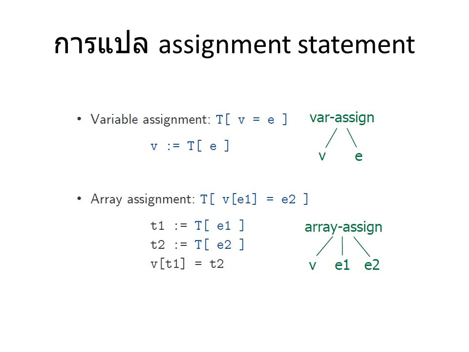 การแปล assignment statement