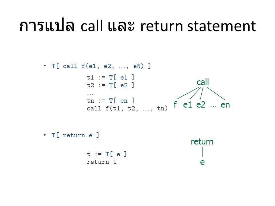 การแปล call และ return statement