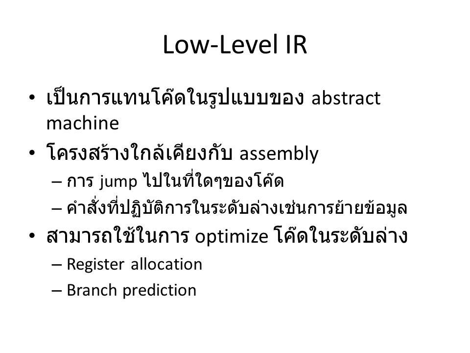 Low-Level IR เป็นการแทนโค๊ดในรูปแบบของ abstract machine