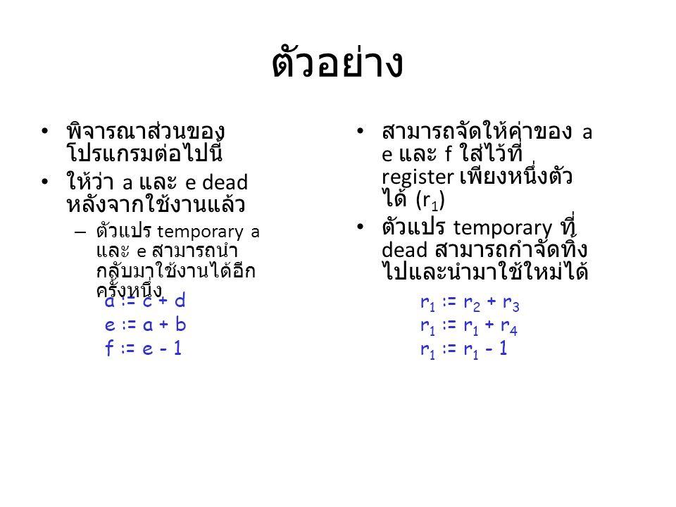 ตัวอย่าง พิจารณาส่วนของโปรแกรมต่อไปนี้