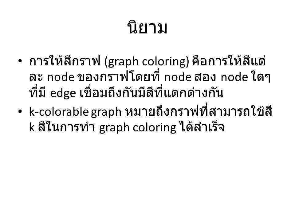 นิยาม การให้สีกราฟ (graph coloring) คือการให้สีแต่ละ node ของกราฟโดยที่ node สอง node ใดๆที่มี edge เชื่อมถึงกันมีสีที่แตกต่างกัน.