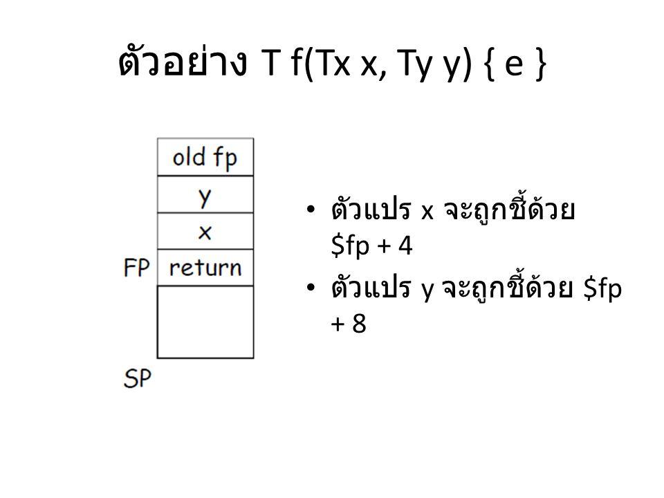 ตัวอย่าง T f(Tx x, Ty y) { e }