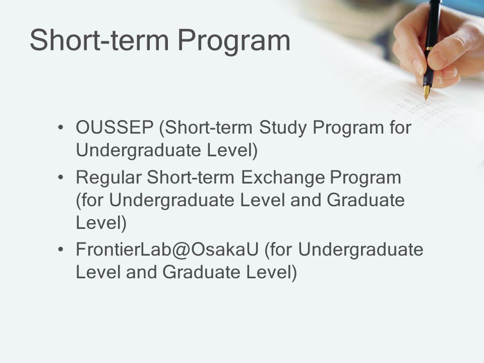 Short-term Program OUSSEP (Short-term Study Program for Undergraduate Level)