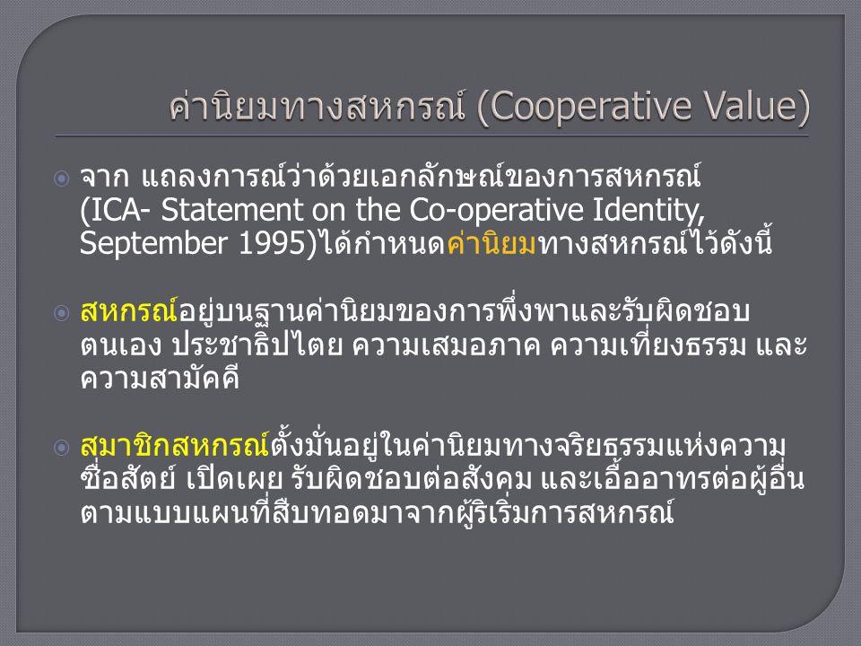 ค่านิยมทางสหกรณ์ (Cooperative Value)