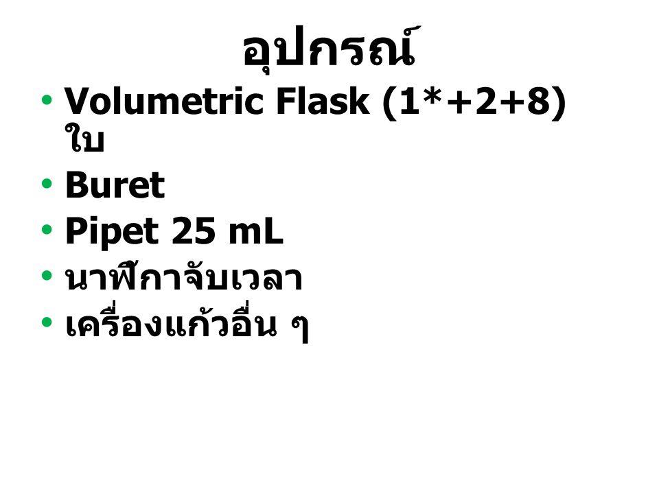อุปกรณ์ Volumetric Flask (1*+2+8) ใบ Buret Pipet 25 mL นาฬิกาจับเวลา