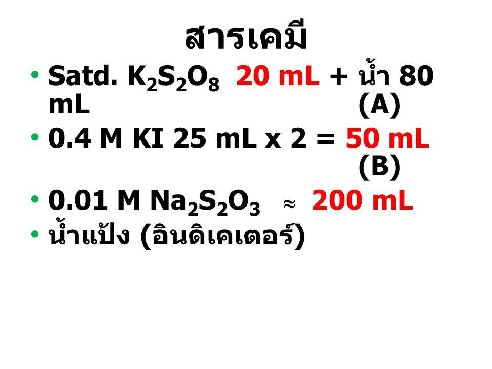 สารเคมี Satd. K2S2O8 20 mL + น้ำ 80 mL (A)