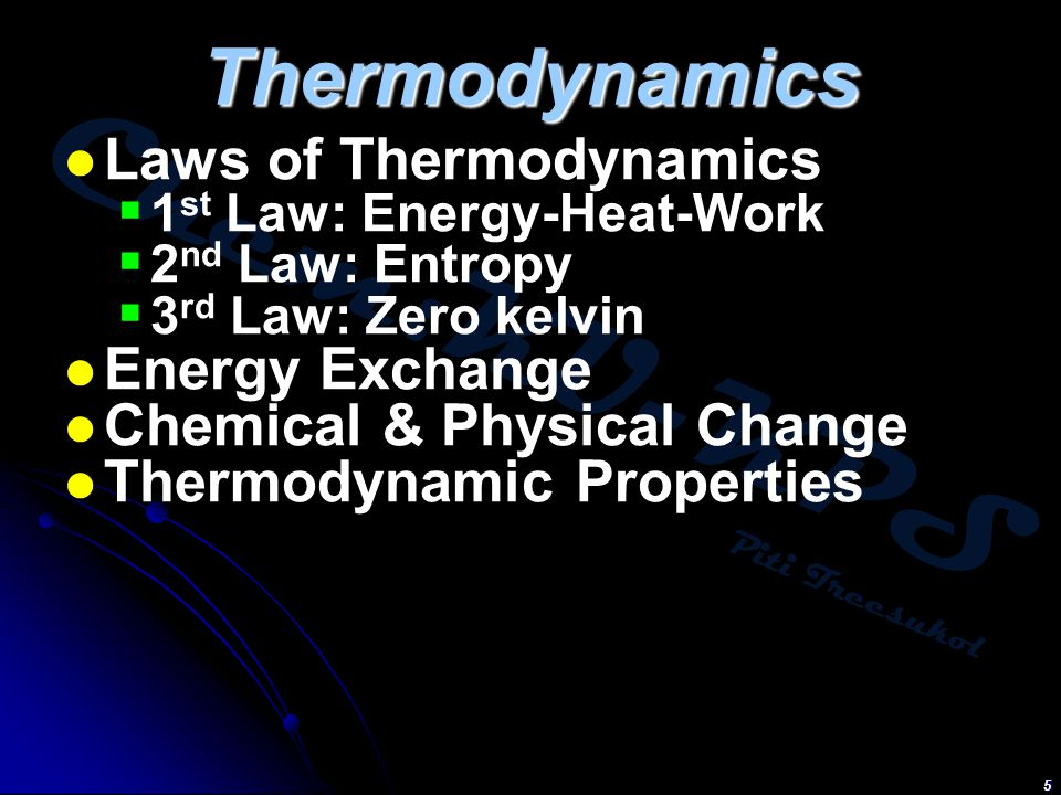 Thermodynamics Laws of Thermodynamics Energy Exchange