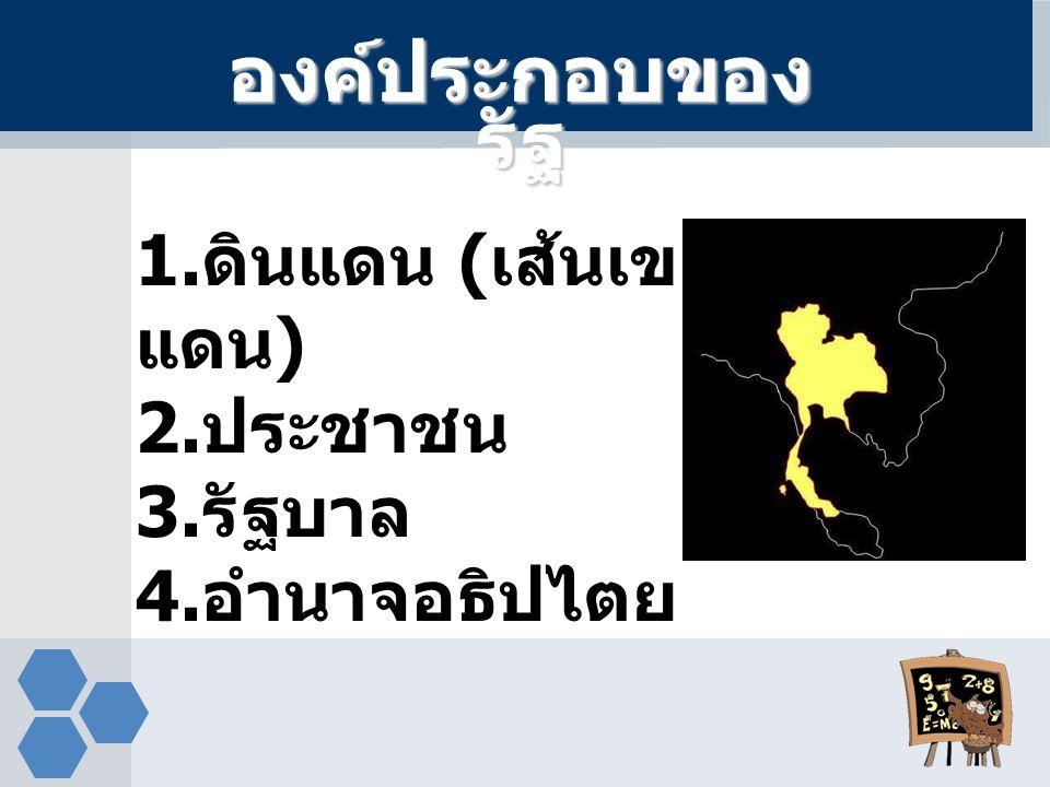 องค์ประกอบของรัฐ 1.ดินแดน (เส้นเขตแดน) 2.ประชาชน 3.รัฐบาล