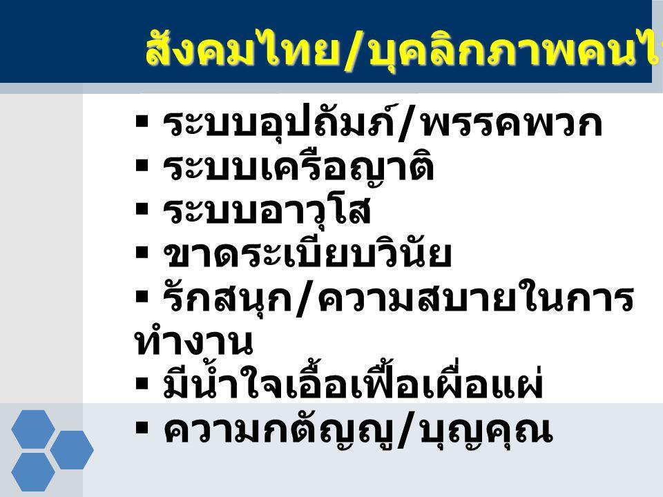สังคมไทย/บุคลิกภาพคนไทย