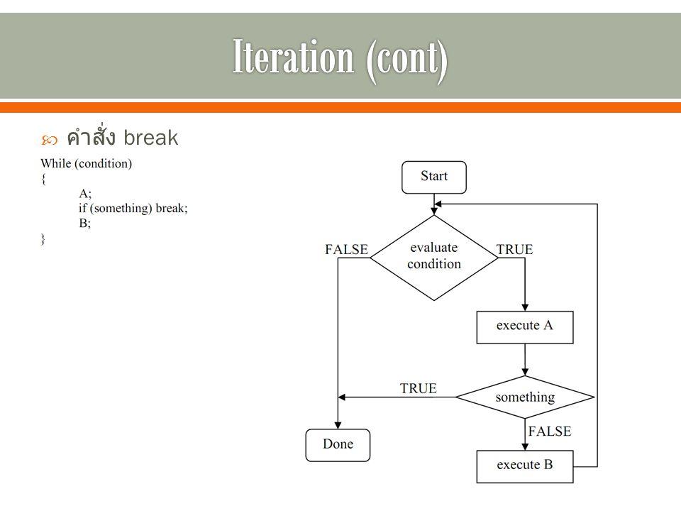 Iteration (cont) คำสั่ง break