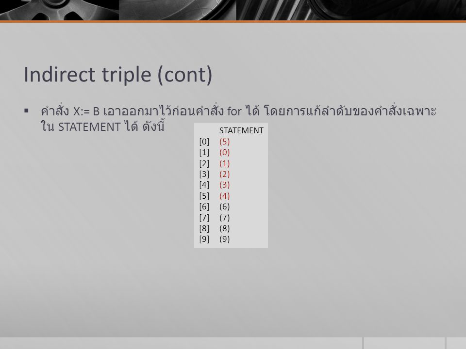 Indirect triple (cont)