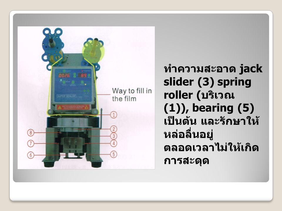 ทำความสะอาด jack slider (3) spring roller (บริเวณ (1)), bearing (5) เป็นต้น และรักษาให้หล่อลื่นอยู่ตลอดเวลาไม่ให้เกิดการสะดุด