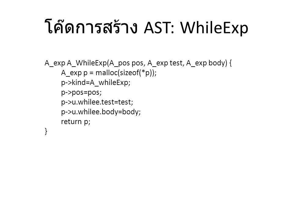 โค๊ดการสร้าง AST: WhileExp