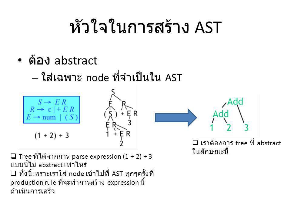 หัวใจในการสร้าง AST ต้อง abstract ใส่เฉพาะ node ที่จำเป็นใน AST