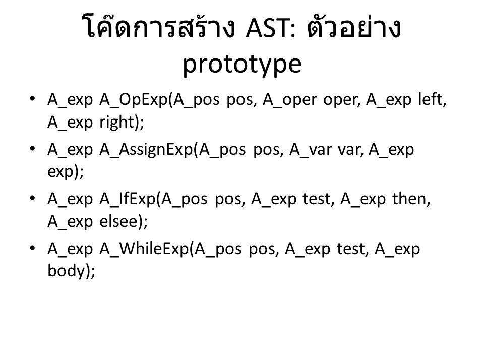 โค๊ดการสร้าง AST: ตัวอย่าง prototype