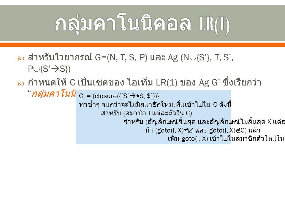 กลุ่มคาโนนิคอล LR(1) สำหรับไวยากรณ์ G=(N, T, S, P) และ Ag (N{S'}, T, S', P{S'S})
