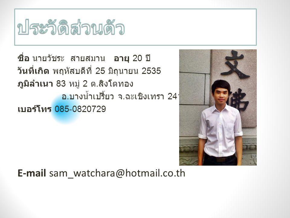 ประวัติส่วนตัว E-mail sam_watchara@hotmail.co.th
