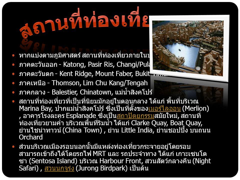 สถานที่ท่องเที่ยว หากแบ่งตามภูมิศาสตร์ สถานที่ท่องเที่ยวภายในประเทศสิงคโปร์ มีดังนี้ ภาคตะวันออก - Katong, Pasir Ris, Changi/Pulau Ubin.