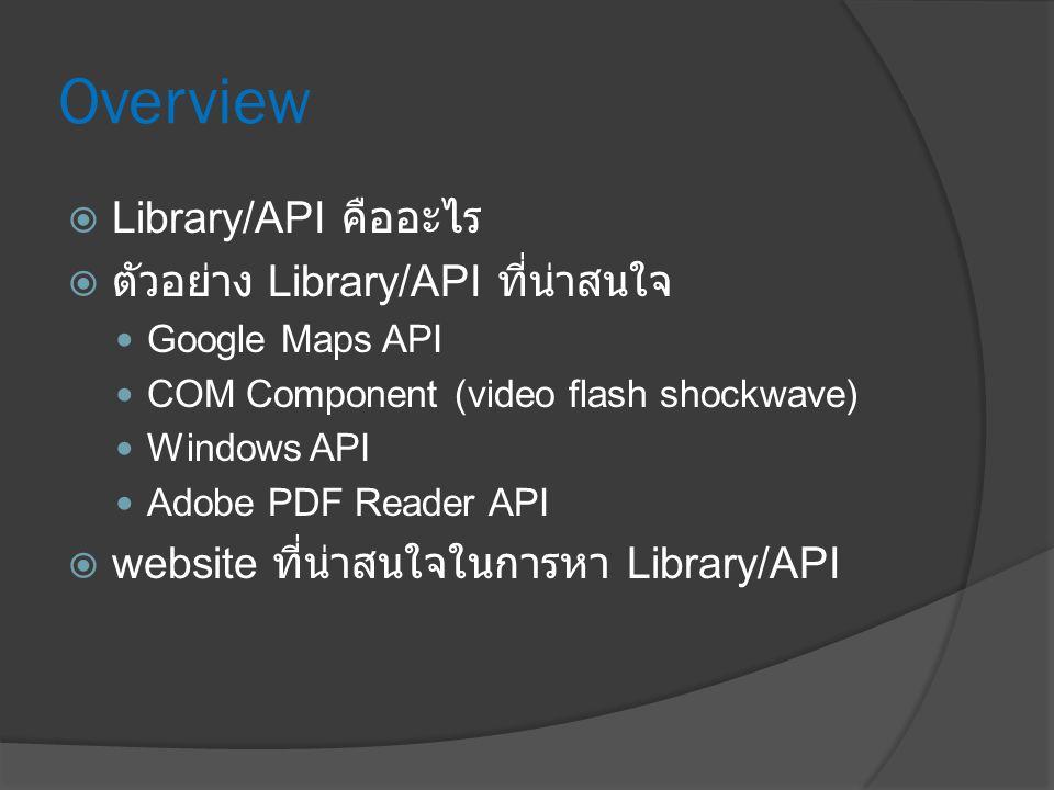Overview Library/API คืออะไร ตัวอย่าง Library/API ที่น่าสนใจ