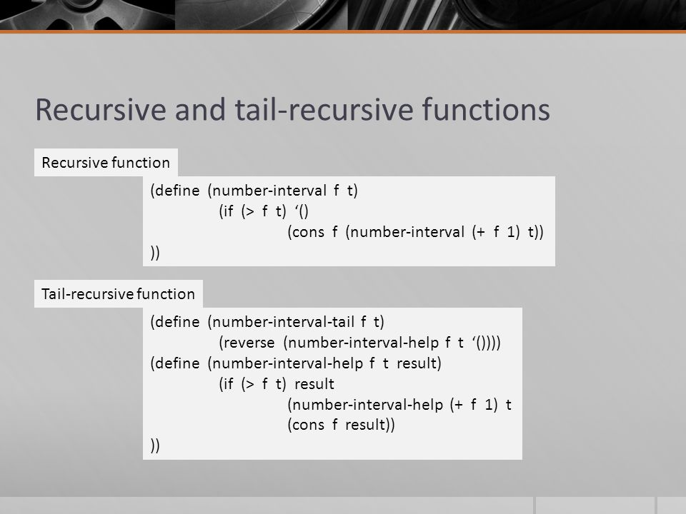 Recursive and tail-recursive functions