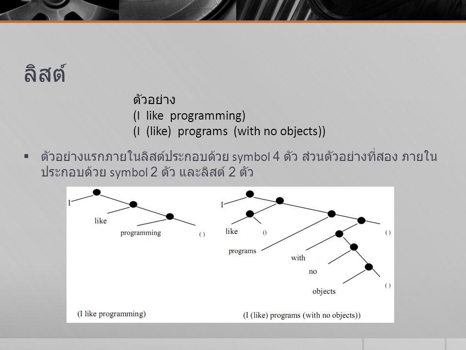 ลิสต์ ตัวอย่าง (I like programming)