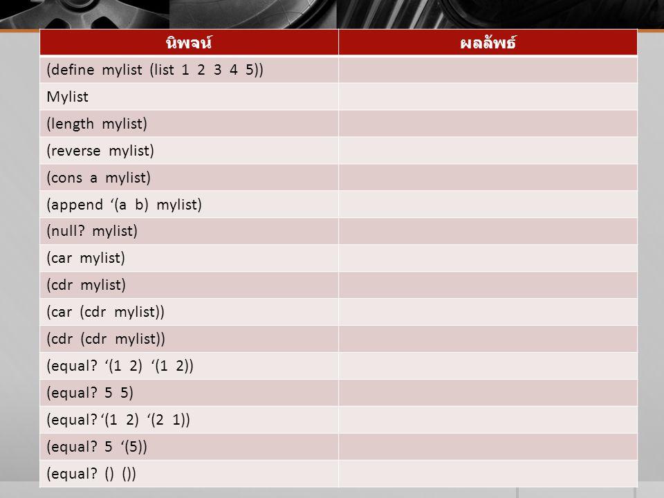นิพจน์ ผลลัพธ์ (define mylist (list 1 2 3 4 5)) Mylist. (length mylist) (reverse mylist)