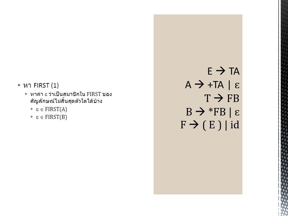 E  TA A  +TA | ɛ T  FB B  *FB | ɛ F  ( E ) | id