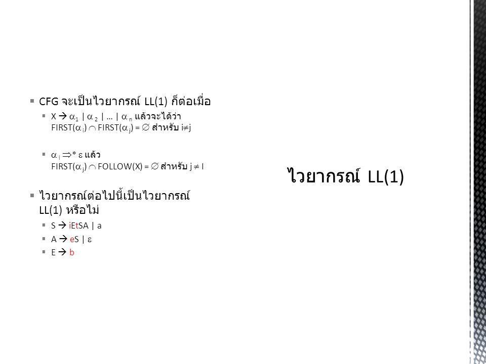 ไวยากรณ์ LL(1) CFG จะเป็นไวยากรณ์ LL(1) ก็ต่อเมื่อ