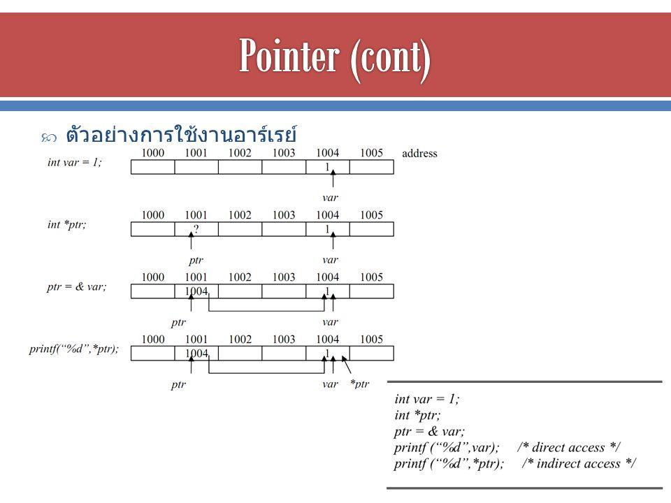 Pointer (cont) ตัวอย่างการใช้งานอาร์เรย์