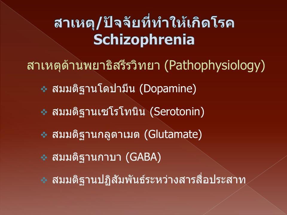 สาเหตุ/ปัจจัยที่ทำให้เกิดโรคSchizophrenia